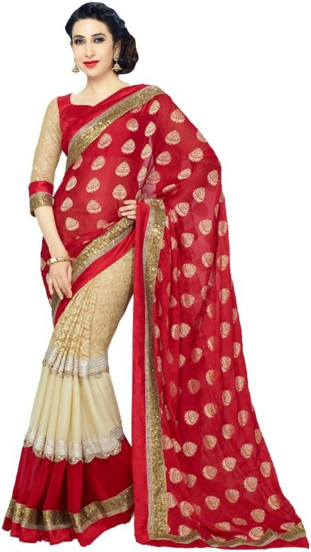 K.C Self Design Bollywood Georgette Saree(Red)