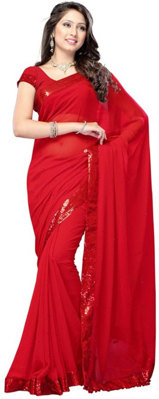 Aksh Fashion Self Design Bollywood Georgette Saree(Red)
