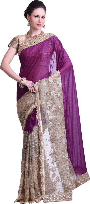 Chirag Sarees Embellished Fashion Synthetic Georgette Saree(Purple)