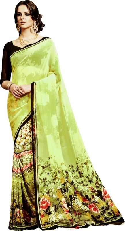 Khushali Self Design, Printed Fashion Georgette Saree(Green, Multicolor)