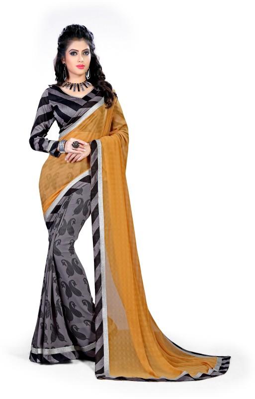 Indianbeauty Solid, Printed Fashion Chiffon Saree(Yellow)