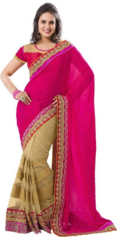 Khushali Self Design, Embroidered, Embellished Fashion Cotton Blend, Poly Georgette Saree(Pink, Beige)