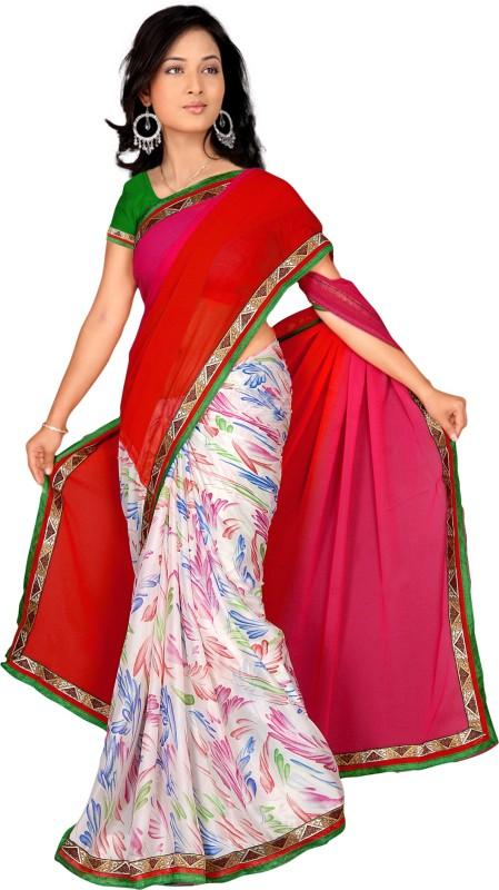 Khoobee Self Design, Printed Fashion Crepe, Georgette Saree(Red, Pink, White, Multicolor)