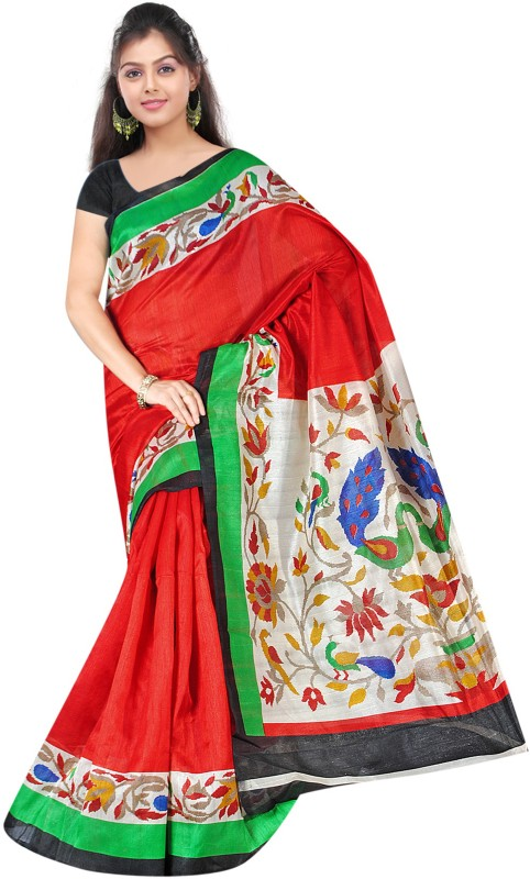 Khushali Self Design, Printed Fashion Art Silk Saree(Red, Multicolor)