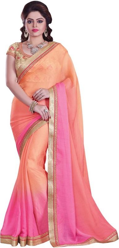 Sati Embroidered Fashion Chiffon Saree(Pink)