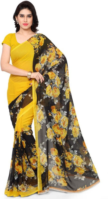 Anand Sarees Printed Daily Wear Synthetic Georgette Saree(Yellow)