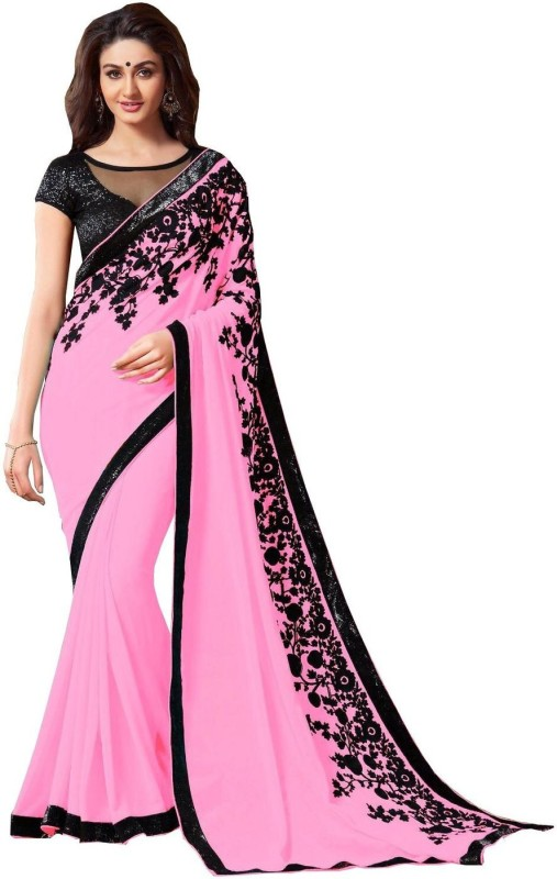 Bollywood Designer Self Design Bollywood Georgette Saree(Pink)