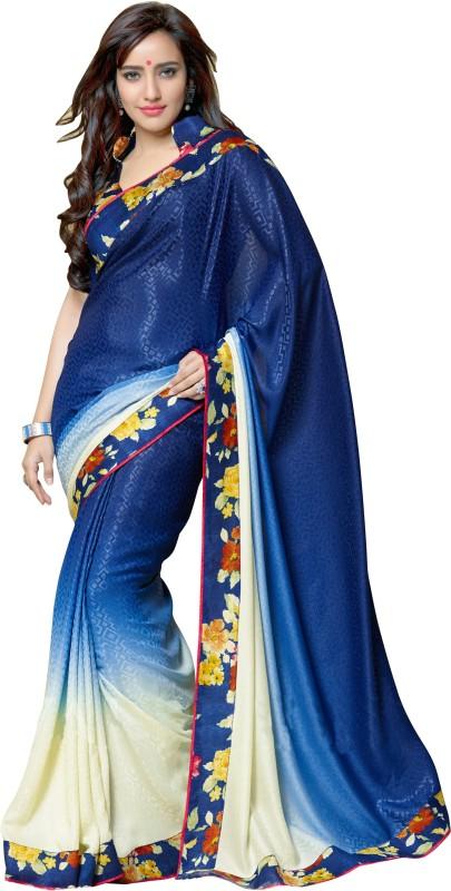 Khoobee Self Design, Printed Fashion Art Silk, Crepe, Jacquard Saree(Blue, Beige)