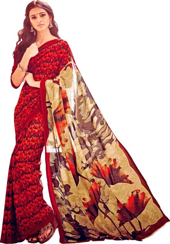 Khushali Self Design, Printed Fashion Georgette Saree(Red, Multicolor)
