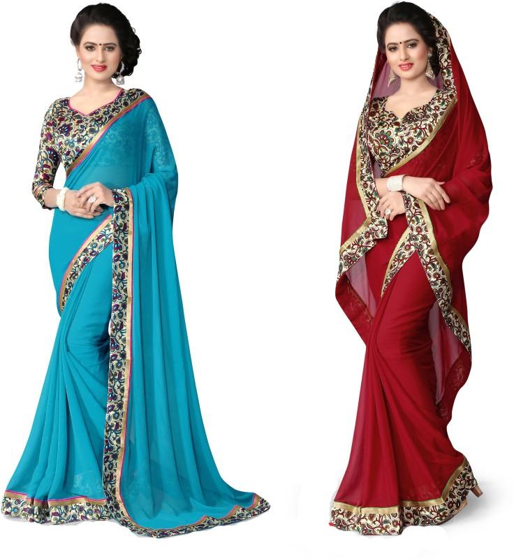 Indianbeauty Plain, Printed Fashion Chiffon Saree(Pack of 2, Red, Light Blue)