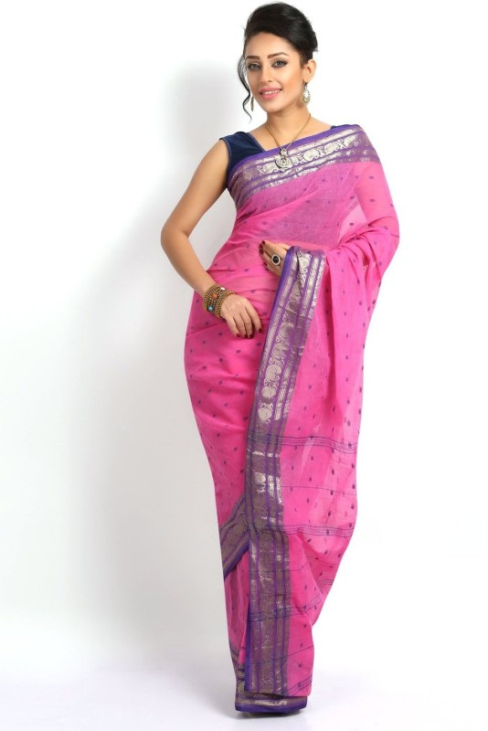 Rudrakshhh Woven Tant Handloom Cotton Saree(Pink)