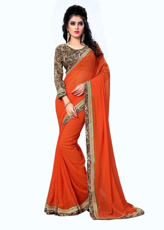 Oomph! Printed Bollywood Chiffon Saree(Orange)