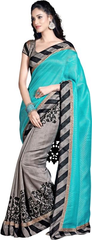 Trendz Printed Fashion Cotton Saree(Light Blue)