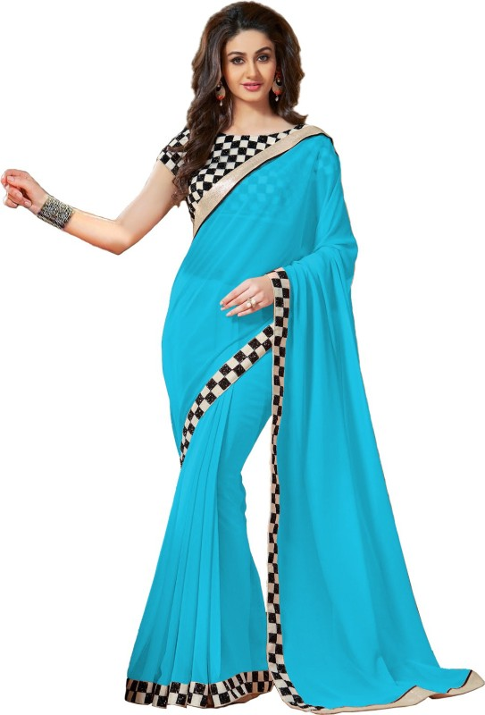 Saumya Designer Self Design Fashion Poly Georgette Saree(Green)