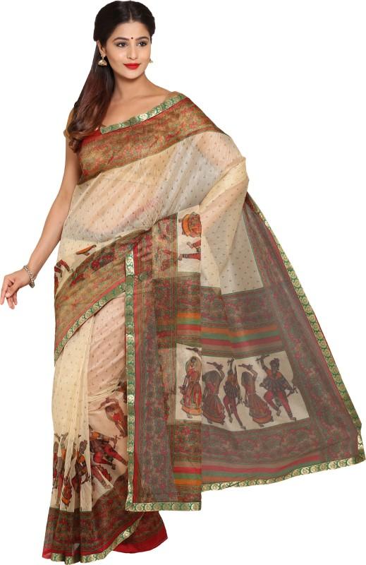 Aryahi Printed Fashion Net Saree(Beige)
