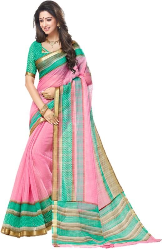 Miraan Printed Chanderi Kota Cotton Saree(Multicolor)