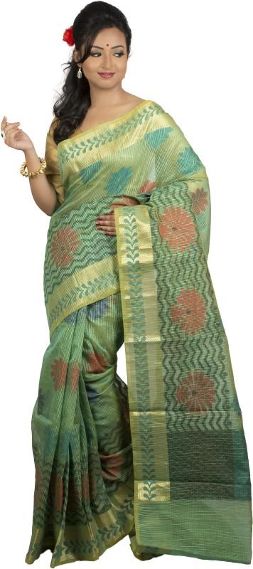 monidipa Self Design Fashion Cotton Saree(Light Green)