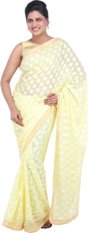 The Phulkari Self Design Phulkari Chiffon Saree(Yellow)