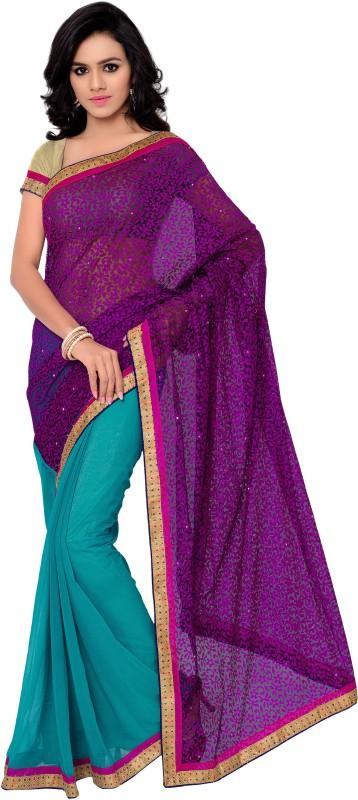 Gunjan Creations Solid Fashion Cotton Blend Saree(Light Blue)