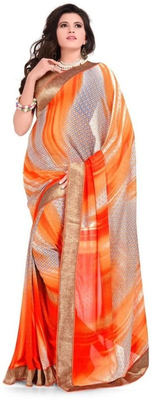 Desi Look Self Design Fashion Georgette Saree(Orange)