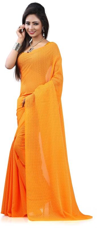 Khushali Self Design Fashion Georgette, Jacquard Saree(Orange)