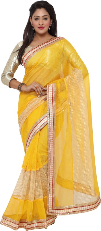 sarvagny clothing Self Design Kota Doria Kota Cotton, Net Saree(Yellow)