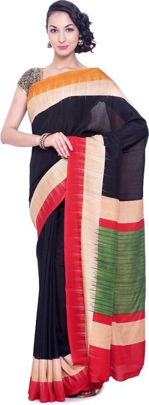 Black Beauty Self Design Fashion Shimmer Fabric Saree(Black)