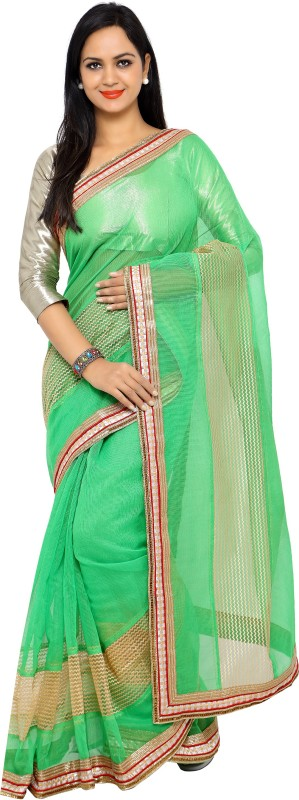 sarvagny clothing Self Design Kota Doria Net, Poly Silk Saree(Light Green)