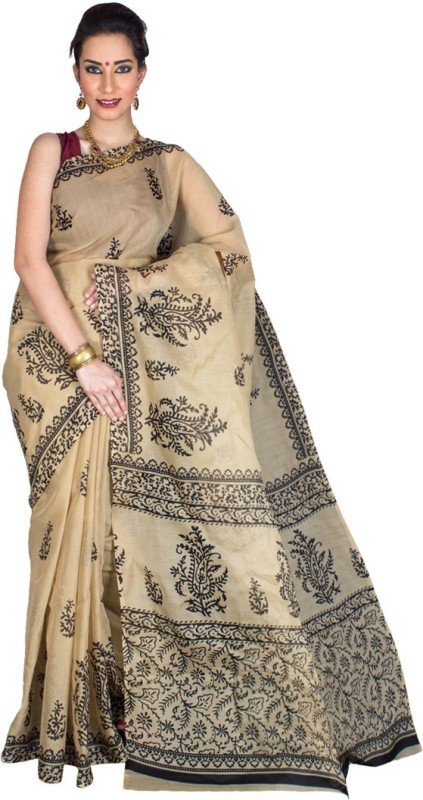Pavechas Printed Daily Wear Polycotton Saree(Beige)