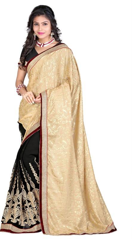 Aashvi Creation Embroidered, Self Design Fashion Georgette, Brasso Saree(Beige, Black)