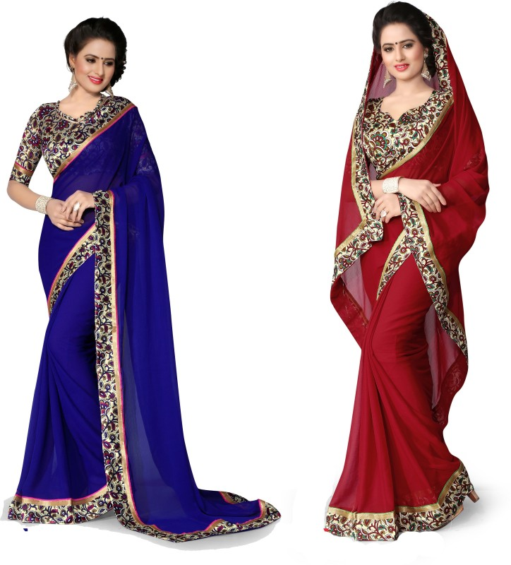 Indianbeauty Plain, Printed Bollywood Chiffon Saree(Pack of 2, Red, Blue)