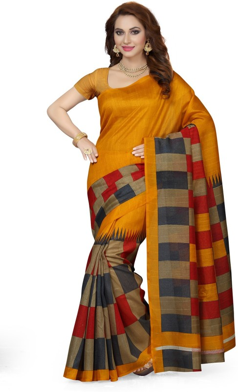 Ishin Printed Bollywood Art Silk Saree(Multicolor)