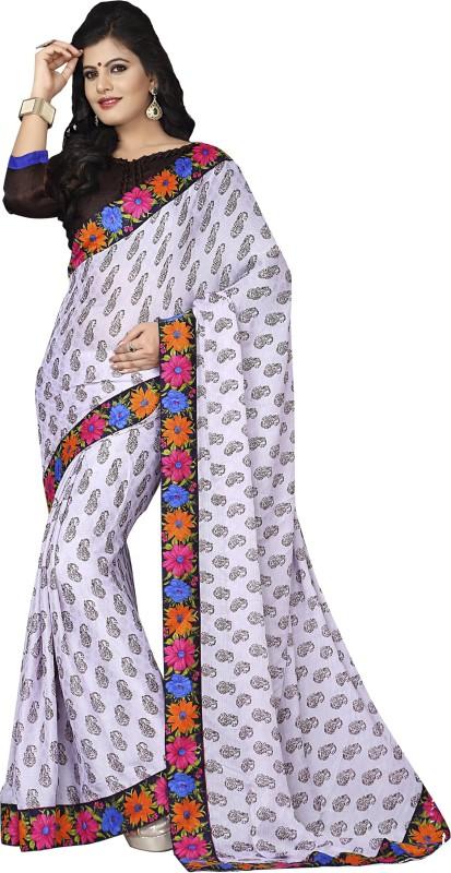Khushali Self Design, Printed Fashion Satin Blend, Cotton Blend Saree(White, Brown, Black)