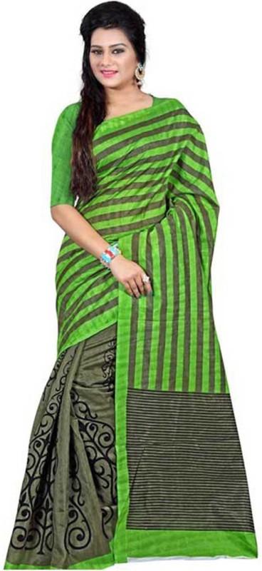 Vembro Printed Bhagalpuri Art Silk Saree(Multicolor)