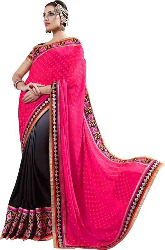 Khushali Self Design, Embroidered, Embellished Fashion Cotton Blend, Poly Georgette Saree(Black, Pink)
