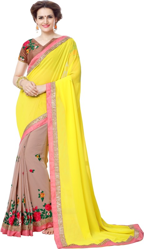 onlinefayda Self Design Bollywood Georgette Saree(Yellow, Beige)