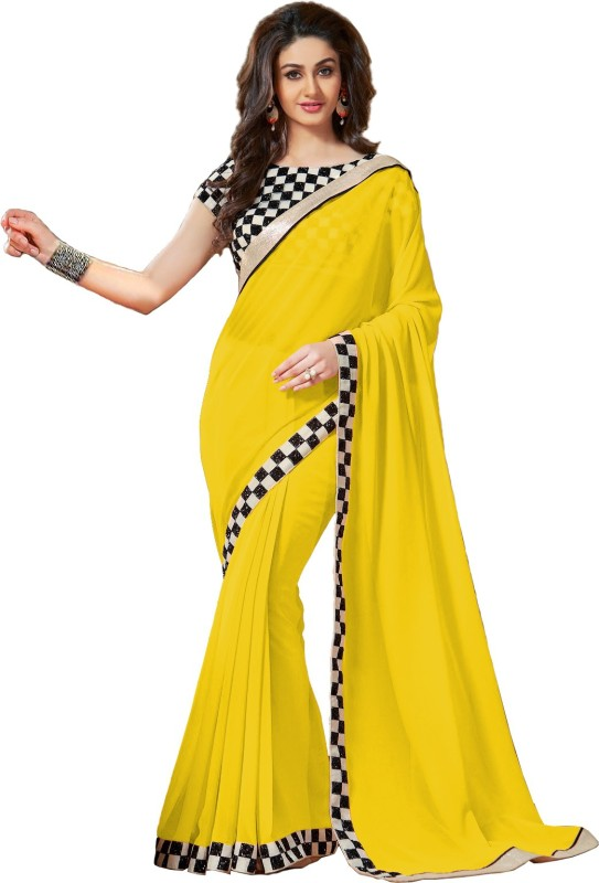 Saumya Designer Self Design Bollywood Poly Georgette Saree(Yellow)