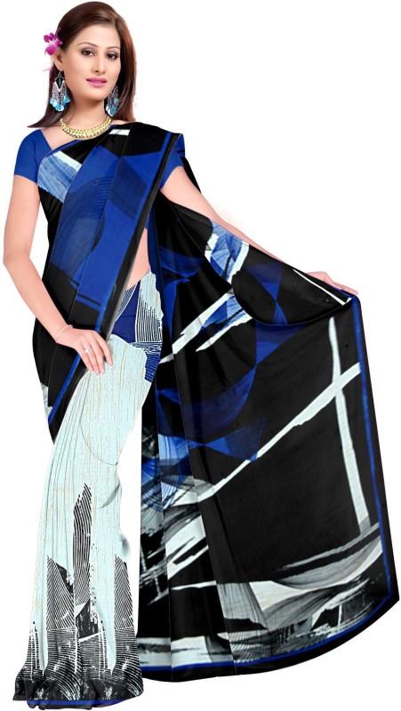 Khushali Self Design, Printed Fashion Georgette Saree(Multicolor, Blue)