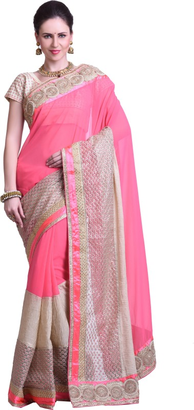 Chirag Sarees Embellished Fashion Synthetic Georgette Saree(Pink)