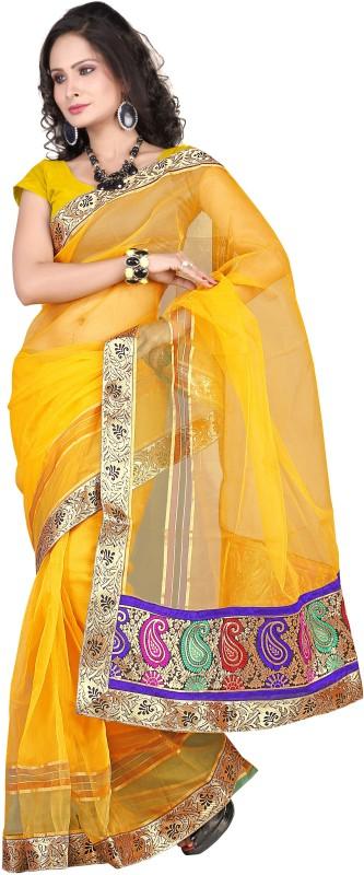 Suali Self Design Fashion Tissue Saree(Yellow)