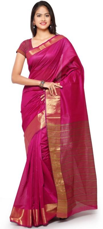 Saara Striped Fashion Cotton, Linen Saree(Gold, Pink)