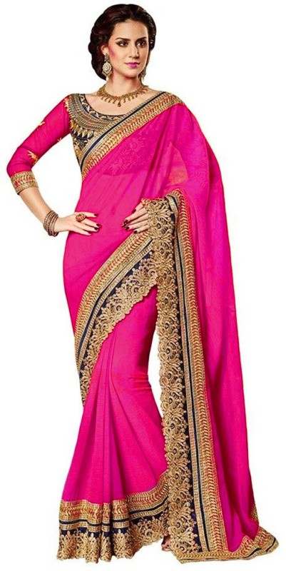 Winza Designer Self Design, Embroidered, Embellished, Solid Bollywood Poly Georgette Saree(Pink)