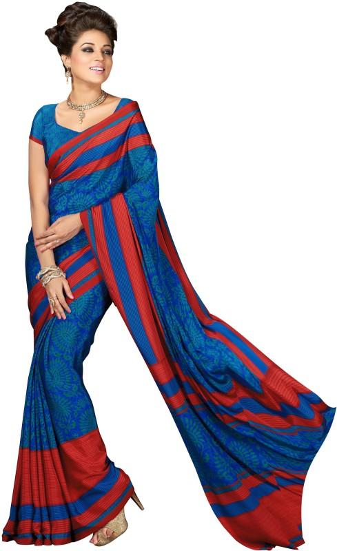 Jiya Self Design, Printed Fashion Poly Crepe Saree(Green, Blue)