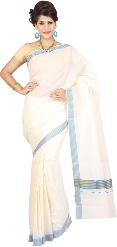 JISB Striped Coimbatore Cotton Saree(Beige)
