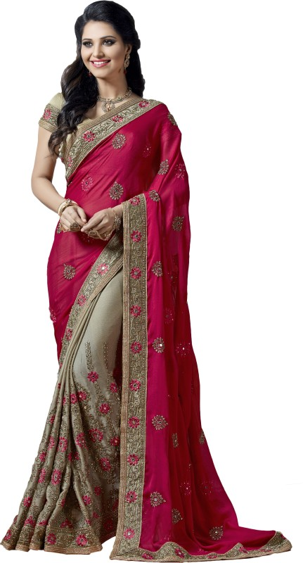M.S.Retail Embroidered Bollywood Chiffon Saree(Pink)