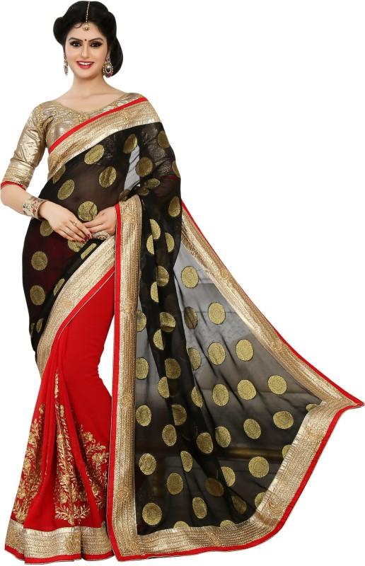 Desi Look Self Design Fashion Georgette Saree(Red)
