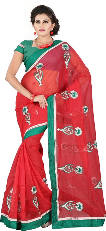 Weavedeal Embellished, Embroidered Bollywood Cotton, Net Saree(Red)