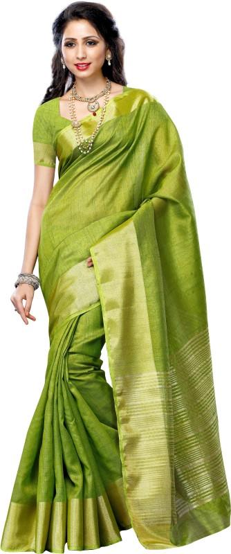 Mimosa Solid Kanjivaram Tussar Silk Saree(Green)
