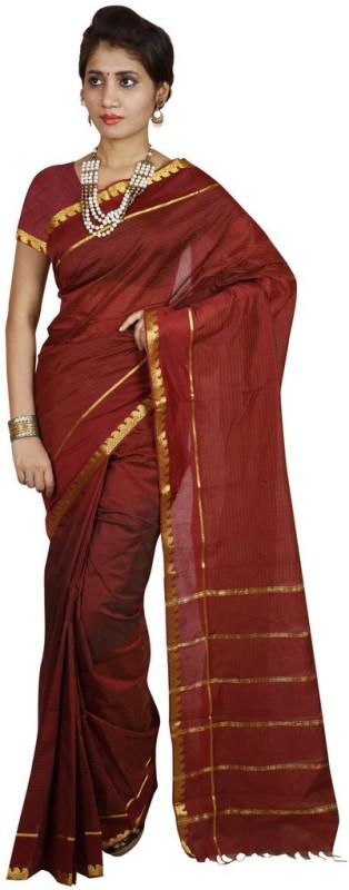 Kanheyas Striped Fashion Handloom Cotton Saree(Red)