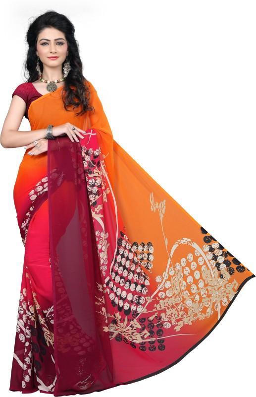 M.S.Retail Printed Fashion Chiffon Saree(Orange)
